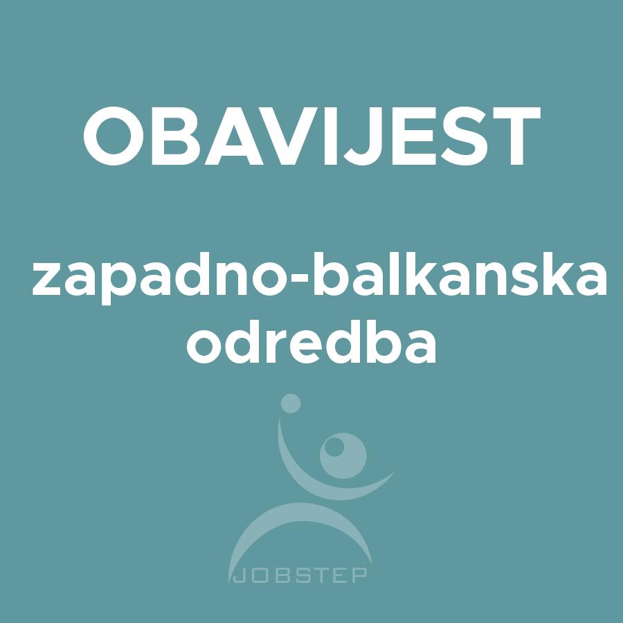 OBAVIJEST – Zapadno balkanska odredba